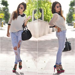 Crris LoveShoppingandFashion - Bershka Jeans, Glamorous Top, Lolita Blu Heels, Lowlita & You Ring, Lowlita & You Bracelets - Dotty