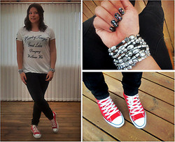 Anna M - Oasap Printed Tee, Converse Red, Clairés Bracelets - Some red, some black and some glitter