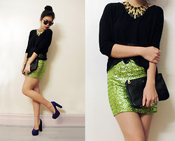 Petrisa Annie - Petrisa Diy Sequin Skirt, Forever New Chiffon Crop Top, Therapy Heels, Marcs Clutch - Never hesitate to tackle