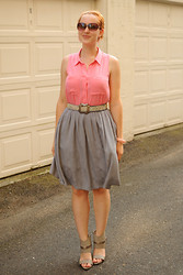 Stacey L - H&M Pink Blouse, Thrifted Gray Skirt, Gray Heels - Pink and gray
