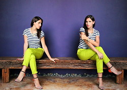 Andrea Carolina - Zara Stripped Tee, Ivonne Lime Trousers, Zara Bugs Necklace, Zara Color Blocked Sandals - Lime & Stripes