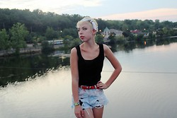 Coco Rosenberg - Handmade Denim Shorts, Vintage Black Velvet Tank, Vintage Red Snakeskin Belt - Do You Realize?