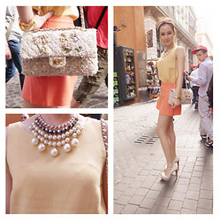 Willa Liu - Mawi Necklace, Zara Top, Own Brand Skirt, Aldo Shoes, Chanel Bag - Orange & Yellow