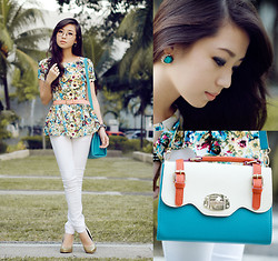 Kryz Uy - Amber Avenue Top, My Everday Fashion Bag, Yesstyle Jeans, Rudy Project Eye Glasses - Bloom in Peplum