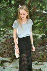 Becca H - Pink Bird, New Yorker Grey Cropped Shirt, Urban Outfitters Black Transparent Skirt, My Sister Tote Bag - Lofticries