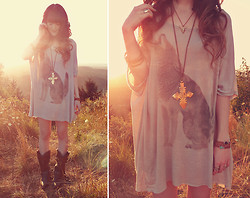 Ashlei Louise . - Durango Boots, Vanessa Mooney Brass Cross Necklace, Vanessa Mooney Bull Head Necklace, Vanessa Mooney Silver Ring, Vanessa Mooney Cross Bracelets, Beginning Boutiwue Claw Ring - Howling at the Sun, Growling at the Moon