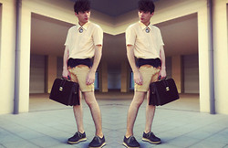 Joao Abreu - Vintage Mesh Peach Shirt, Diy Ombré Shorts, Filipe Sousa Shoes, Zara Bag, Diy Watch Necklace - Now settled in...