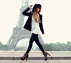 Anastasia Siantar - Red Velvet Blazer, H&M White Loose Shirt, Calzedonia Tights, Jeffrey Campbell Wrecker Boots - The city of love