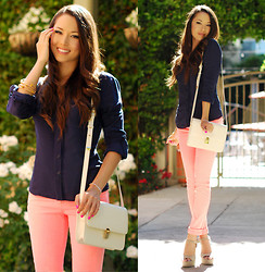 Jessica R. - Forward To All Coral Skinny Jeans, Sheinside White Messenger Bag - Coral Skinnies