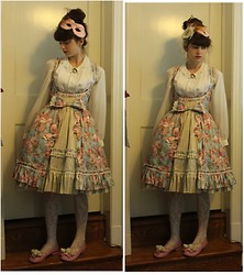 Kattoo King - Hand Me Down Blouse, R Series Underbust Jsk, Forever 21 Lace Tights, Diy Shoes, Cameo The Label Pin - Rococo