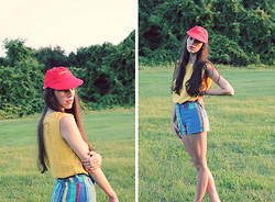 Kennedy Holmes - Esprit Hat, Thrift 1980s Yellow Knit Top, Thrift 1990s Colorful Denim Shorts - Kindergarten colors