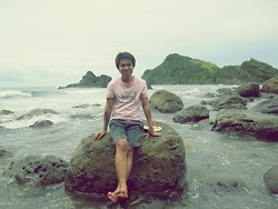 Jhun Iduria - Hammerhead Pink Shirt, Bench Shorts - Blue Lagoon beach Resort!