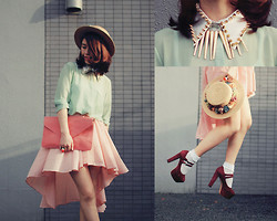 Shan Shan - Sheinside Shoes, Chic Wish Bag, Storets Collar, Romwe Nacklace, Romwe Blouse, Chic Wish Skirt, Storet Socks - Pastel with studs