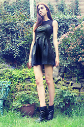 Sophie Bailey - Armani Exchange Leather Look Skater Dress, Primark Leather/Suede Wedges - The leather LBD