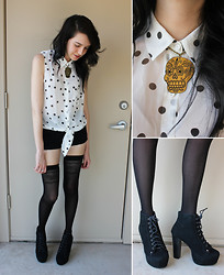 "Allie Finch - Buffalo Exchange Sugar Skull Necklace, Buffalo Exchange Spotted White Blouse, Charlotte Russe Black Lace Shorts, Forever 21 Knee High Stockings, Ebay ""Cuban Style Heel"" - Spots and Sugarskulls"