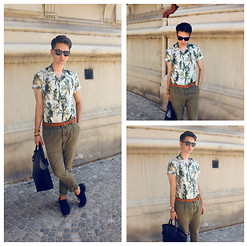 EDYE PAULAT - H&M Palm Shirt, Zara Leather Bag, Topman Green Chinos, H&M Black Shoes - Palm trees