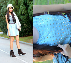 MASTURAH K. - Denim Studded Dress, Topman Straw Hat, Mango Brown Boots, Mango Weaved Belt - City Country Girl.