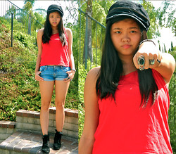 Joanna Tam - Hollister Shorts, Combat Boots, Foreign Exchange Bracelet, Nordstrom Stone Ring, Nordstrom Square Ring, Not Very Sure Ring, Charlotte Russe Hat, Ralph Lauren Shirt - Back to the Basics.