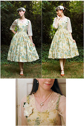 Tyler H - My Mom Made Pearl Necklace, Caryn L Hetherston Designs Dendritic Quartz Pendant, Gift Silver Hoops With Pearl Drops, Antique Store White Vintage Hat, My Own Work Blue Hydrangea Dress, Kohls Embroidered Tulle Wrap, Thrifted Caramel Heels, My Own Work Rose Corsages - The Green Room