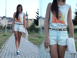 Janiie Pham - Gate Print Top, Diy Bow Shorts, H&M Cropped Sweater, Braided Belt, Primark Cross Body Bag - Summer Candle Light