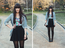 Emmy Leelahlou - Jay Jays Denim Shirt, Topshop Skater Skirt, Ally Fashion Bralet - Warm Winter