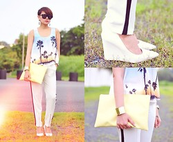 Kookie B. - Mango White Wedges, Romwe Track Pants, Made U Look Light Yellow Clutch, Folded & Hung Sunglasses - Sunset Trip