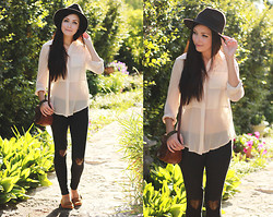 Breanne S. - Forever 21 Wool Hat, Shopakira Sheer Top, Flattery Heart Patch Leggings - I will wait for days