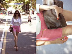 Katerina Revenko - New Look Shirt, Zara Shorts, Zara Shoes, Mango Clutch - White shirt, pink shorts.