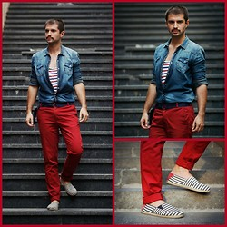 Marko Obradovic - Zara Chinos, Topman Shirt, Vintage Belt, Zara Espadriles, Zara Top - Walking around