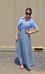 Katherine Pearce - Old Navy Blue Oxford Shirt, H&M Blue Paisley Maxi Dress, Target Silver Watch - Blue on Blue