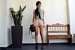 Ellena Young - Urban Outfitters Black Bustier, Topshop Zipper Black Bag, Topshop Denim Vest, Asos Watch - Smiling but we're close to tears