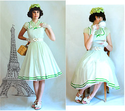 Tyler H - My Own Work White Bow Clips, Antique Shop Vintage Wicker Purse, My Own Work Green Hydrangea Hat, My Own Work Green Polkadot Bedsheet Dress, Altered By Me Crochet Mitts, My Mom Made (Thai Brand) Green Blouse, Ebay White Bow Belt, Outlet Store White Sandals - Short hair Mirage