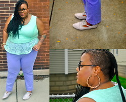 Tiffany Tucker - Simply Be Peplum Top, Simply Be Lilac Jeans, Cut Out Brogues - Finally Trendy