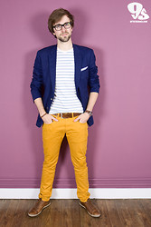 Lawrence M. - Matinique Blazer, Matinique T Shirt, Matinique Mustard Pants - Navy Mustard