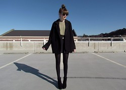Amy Dunn - Thrifted Oversized Fur Trim Blazer, Topshop Sunglasses - Rooftop
