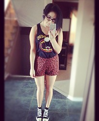 Danielle F - Flatliners Tank, Forever 21 Leopard High Waisted Shorts, Converse Hightops - It's Been A While..