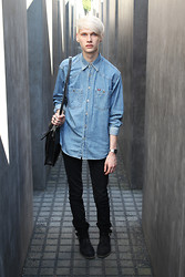 Philipp Mike Irby - Leather Bag, Boots, Cheap Monday Jeans, Denim Shirt - It's like a dark paradise