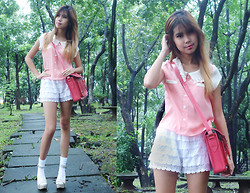 Andrea Beldua - Greenhills Shopping Center Lace Collared Top, Bayo Lace Shorts, Cmg Wedges - Frills and Laces