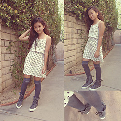 Angela Le - H&M Polka Dot Dress, Calvin Klein Gray Socks, Converse X Hi Top - Keep it simple.