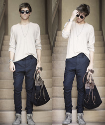 Adam Gallagher - Watch, Necklace, H&M Knit, Topman Trousers, All Saints Boots, Zara Bag, American Apparel Glasses - Labyrinth
