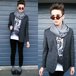 Willem Horck - Buffalo Exchange Loafers, Valentino Scarf, Urban Outfitters Necklace, Barkers Blazer, Trash And Vaudeville T Shirt, Dr. Denim Corduroy Jeans, Urban Outfitters Socks - GREY IN WINTER