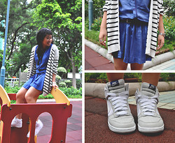 Bernita Ling - Nike Hightops, Initial Romper, Cos Striped Sweater - Marshmallows