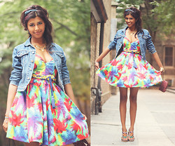 Menaka Iyer - H&M Braided Wedges, H&M Knot Headband, Gap Vintage Denim Jacket, H&M Magic Carpet Braided Belt, Zara Tropical Dress, Coach Coachlet, Eldorado Gold Necklace - Lucid Dreams