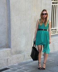 Joll Burr - Romwe Dress, Lindex Belt, H&M Sunglasses, Romwe Bag, Zara Heels - Turq dress