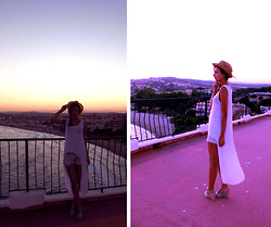Clara S. - Asos White Top, Women Secret Wedges, Levi's® Vintage Shorts, H&M Hat - Look d'été