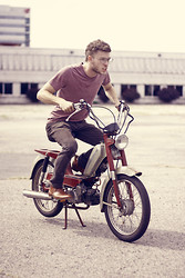 Dorian Sanders - H&M Shirt, Pacer Moped, Aldo Boots - Ride In Style