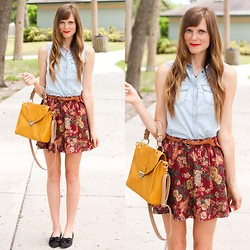 Steffy Degreff - Tea And Tulips Ditzy Floral Skirt, Romwe Chambray Blouse, Sway Chic Mustard Bag - Vintage florals have stolen my heart ♥