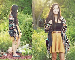 Breanne S. - Billabong Aztec Print Shawl, Roxy Tassel Shoulder Bag, Forever 21 Yellow Skirt, Lulu*S Gold Necklace - All that copper glowing fine