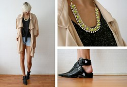 Sietske L - Chic Wish Oversized Jacket, Minusey Spiked Neon Necklace, Primark Tee, Choies Boots - Speckled and spiked