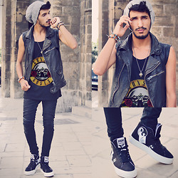 Mohcine Aoki - Zara, Vintage Guns N' Roses, Lord Richards Skulls, Forfex Pam Animal Stickers, Fashops, Zara - GUNS N' ROSES